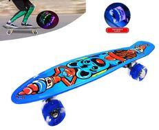 """Скейтборд (пенниборд) PNB 22"""" Print """"Ice Cream Bear"""", LED светящиеся колеса, подвеска - Alu, ABEC-7 (синий) УТ00021581"""