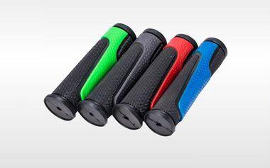 Рукоятки руля (грипсы, комплект), 120мм, резиновые, KMS (черный/зеленый) #0