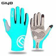 """Велоперчатки GIYO, длинный палец, гелевые вставки, биэластичные, силикон, лайкра, размер """"S"""" (бирюзовый)"""