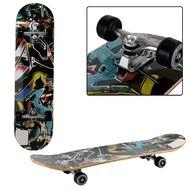 """Скейтборд RGX 31""""x8"""", подвеска 5 ALU, клён 9 слоёв, 2-х сторонний принт, DBL-350 (черный мультиколор)"""