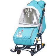 Санки-коляска детские Ника Наши Детки 2 (с медвежонком голубой)