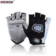 """Велоперчатки """"MOREOK"""", короткие пальцы, антискользящие, биэластичные, лайкра, размер """"M"""", (черный, MOREOK01-M)"""
