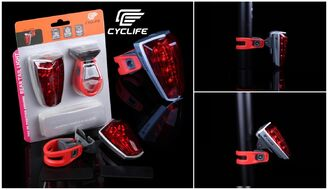 Фонарь задний CYCLIFE CL-102, 5 Super LED, 5 режимов работы, Weatherproof, блистер (УТ00019064)