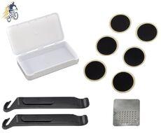 Аптечка велосипедная, пластиковый бокс, заплатки, 6 шт., самоклейки, шкурка, монтажки 2 шт., BIKE (RT5PTCH600K1)
