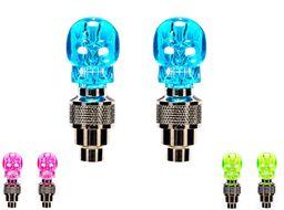 Колпачок на ниппель, Skull, светодиодный (1 LED), к-кт 2 шт., блистер (синий, красный, зеленый)