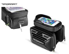 """Велосумка, """"FORMAT"""", крепление на раму, жесткий каркас, с отделением для смартфона, двойная, B53 (черный)"""