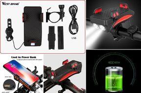 """Держатель для смартфона, 4.0""""-6.5"""", на руль, с фонарем 2 LED, 550 lm, USB, встроенный аккумулятор,"""