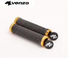 Рукоятки руля круглые (Грипсы, комплект) VZ-E05-001 (22,2 мм) VENZO (черный, кольцо-желтый)
