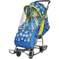 Санки-коляска детские Умка 3-1 (мишки синий)
