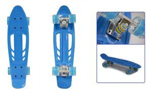 """Скейтборд (пенниборд) Black Aqua 24"""", Alu, ABEC-7, светящиеся LED колеса PU 60 мм, S00238 (синий, УТ00020936)"""