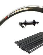 """Колесо в сборе 700С"""" переднее, алюминиевая втулка SF-J14DGF, эксцентрик 9 мм, черные спицы, двустеночный обод EVOLUTION (AlexRims) УТ00021500"""