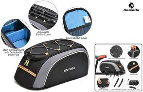 Велосумка, крепление на багажник, 34*18*15, нейлон 600D, чехол от дождя, сетоотражающие элементы, ANMEILU