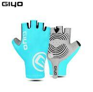 """Велоперчатки GIYO, короткий палец, гелевые вставки, биэластичные, силикон, лайкра, размер """"L"""" (бирюзовый)"""