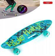 """Скейтборд (пенниборд) PWS 23"""" Print """"Ride Hard"""", с ручкой, LED светящиеся колеса, подвеска - Alu, ABEC-7 (бирюзовый/зеленый) УТ00021577"""