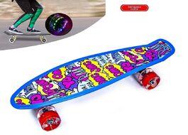 """Скейтборд (пенниборд) PNB 22"""" Print """"Сomics"""", LED светящиеся колеса, подвеска - Alu, ABEC-7 (синий/розовый) УТ00021584"""