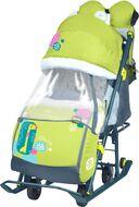 Санки-коляска детские Ника Детям 7-2 (с жирафом лимонный)