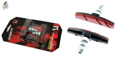 Тормозные колодки 70 мм (пара) V-Brake, блистер, SJ (черный/красный, SJ-D1482)
