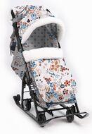Санки-коляска детские Ника Детям 7-5 (цветочный светлый)