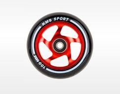 Колесо д/экстрим. самоката, 100 мм, алюминиевое, KMS, с подшипниками (черный/красный)