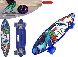 """Скейтборд (пенниборд) PWS 23"""" Print """"Fantasy"""", с ручкой, LED светящиеся колеса, подвеска - Alu, ABEC-7 (синий/белый) УТ00021578"""