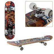 """Скейтборд RGX 31""""x8"""", подвеска 5 ALU, клён 9 слоёв, 2-х сторонний принт, DBL-351 (красный мультиколор)"""