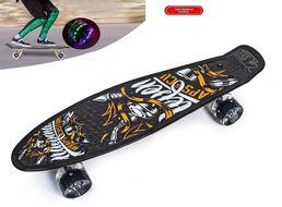 """Скейтборд (пенниборд) PNB 22"""" Print """"Wraps & Custom"""", LED светящиеся колеса, подвеска - Alu, ABEC-7 (черный/оранжевый) УТ00021582"""