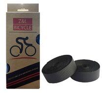 Обмотка на руль, полиуретан, 30х1970 мм, к-кт 2 шт. (пара,) с торцевыми заглушками, инд. упак., Z&L Bicycle (черный карбон, УТ00019055)