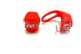 Комплект: фара передняя, фонарь задний, силикон, JY-267-2B, блистер (красный)