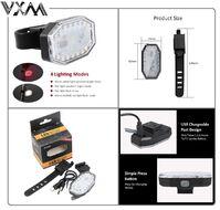 Фонарь задний/передний (габарит) VXM, 21 LED, USB кабель, с аккумулятором 250 mAh, Waterproof, 5 режимов работы, BY-589 (УТ00019533)