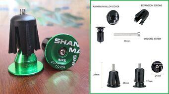 Баренды (заглушки руля) алюминиевые SHANMASHI, пара (Green, SHANMASHIGRN)