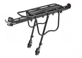 """Багажник задний, алюминиевый, регулируемый, 24-29"""", разборный, крепление на подседельный штырь с опорами на перья рамы, с защитными дугами, резинки для крепления груза, с катафотом (черный, BLF-H27-2)"""