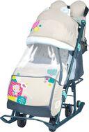 Санки-коляска детские Ника Детям 7-2 (с медвежонком бежевый)