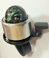 Звонок велосипедный, алюминиевый, с компасом, D40 мм, (серебро)