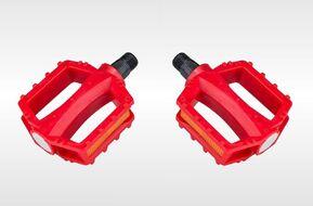 Комплект педалей, KIDS, пластик, с отражателями, 95х82, ось 1/2 (12мм), красный